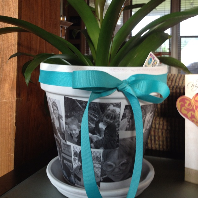Mother's Day Flower pots! 1.Paint pots white 2.Print pictures on regular paper 3. Modge Podge pictures onto pot 4. Seal with clear acrylic paint