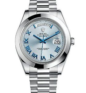 Amazon.com: ROLEX DAY-DATE II 2 PRESIDENT PLATINUM WATCH ICE BLUE DIAL 218206 BOX/PAPERS 2014: ROLEX: Watches