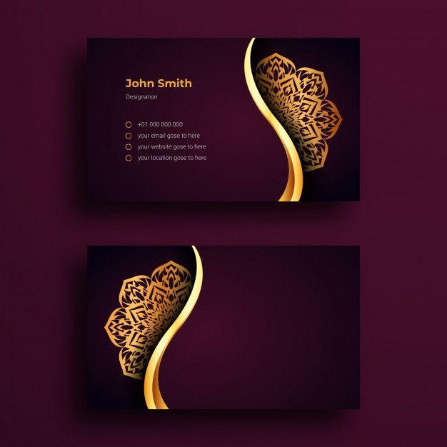 Business Card Template With Mandala Arabesque Design Vector Business Card Business Card Template Arabesque Design