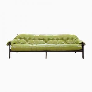 Model MP 041 Lime Green Leather Sofa From Percival Lafer, 1961