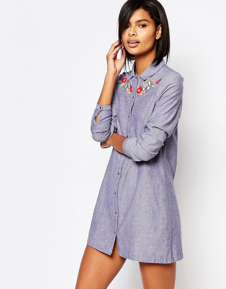 EMBROIDERED SHIRT DRESS