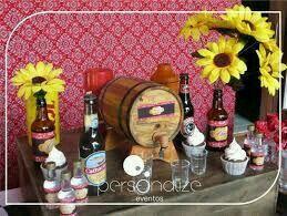 Mesa de bebidas com barril de cachaça!