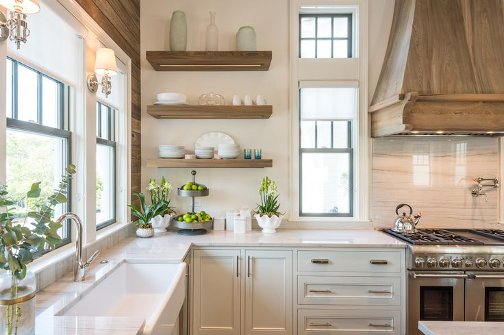 wood shiplap wall, hood & floating shelves mixed with light cabinetry, tile, & countertops