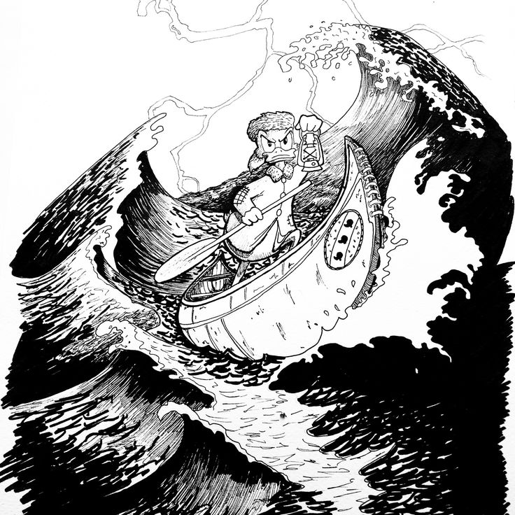 Young Uncle Scrooge on boat  Pen, ink, black, drawing, sea, storm