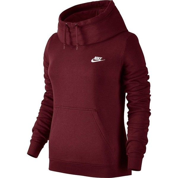 Women's Nike Rally Funnel Neck Hoodie (57 NZD) ❤ liked on Polyvore featuring tops, hoodies, brt pink, funnel hoodie, red hoodies, funnel neck hoodie, long sleeve tops and red hooded sweatshirt