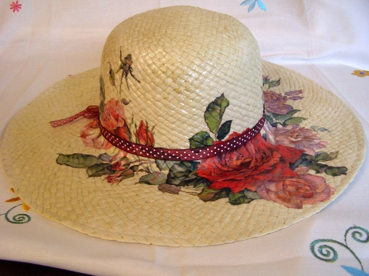 rafia summer hat, decoupage