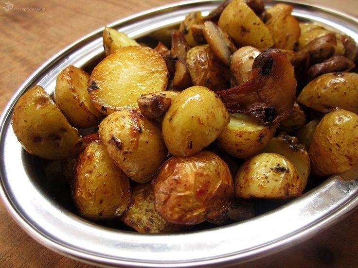Pečené baby zemiačky s hubami