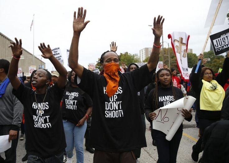 'Hands up, don't shoot' did not happen in Ferguson...http://www.washingtonpost.com/blogs/fact-checker/wp/2015/03/19/hands-up-dont-shoot-did-not-happen-in-ferguson/