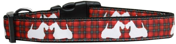 Mirage Pet Products Plaid Scottie Pups Nylon Dog Collar, Large, Red -- To view further for this item, visit the image link. (This is an affiliate link and I receive a commission for the sales)