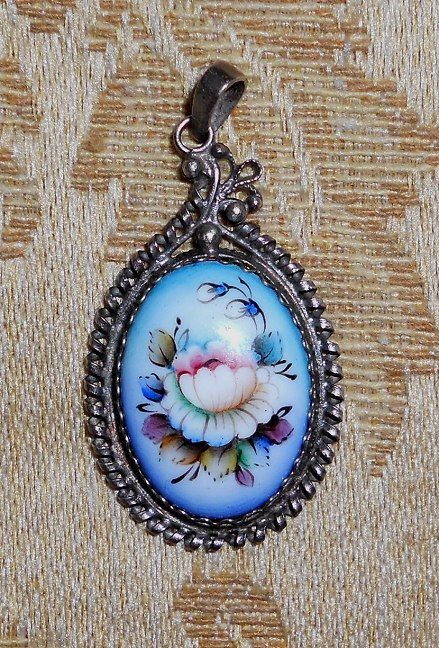 Oval Floral Pendant  Russian Enamel Jewelry by RussianRostovJewell on Etsy