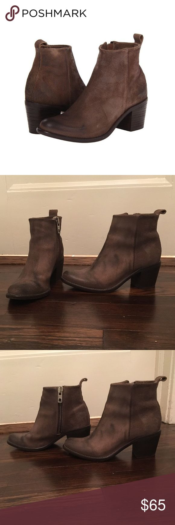 """Diesel booties Brown distressed leather booties by Diesel. Style name Chelsea Show Pinky. Like new condition other than wear on soles. 2.5"""" heel. Inside zips. Diesel Shoes Ankle Boots & Booties"""