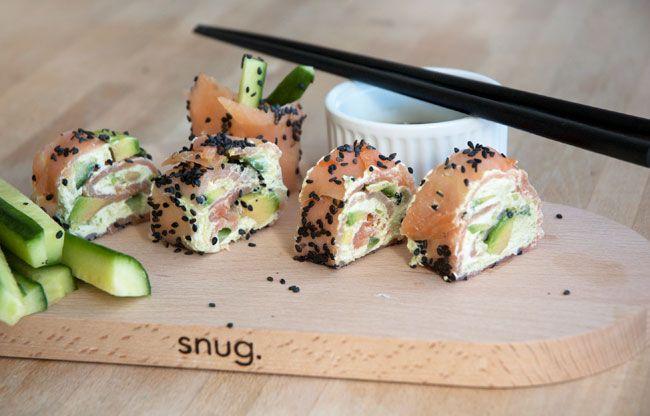 Man kan blive helt afhængig af disse skønne lakseruller serveret ala sushi, men uden rå fisk og ris. Perfekt til frokost eller forret