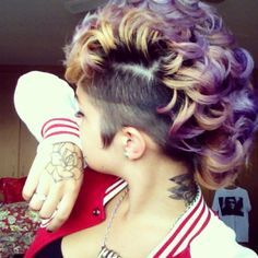 Purple and Orange Mohawk Hairstyle