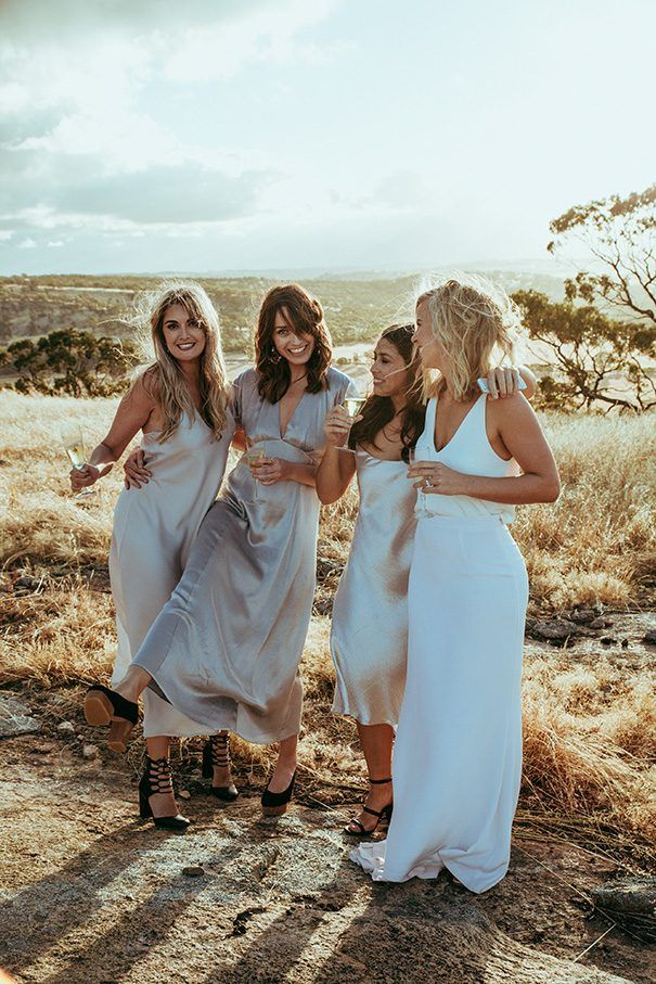 JESS + LUCA // #wedding #bride #bridesmaids #bridalparty #dress #gown #field #rustic #outdoors #sunset #champagne