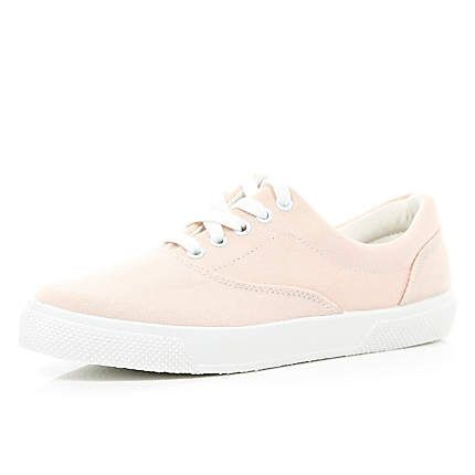 Light pink canvas lace up trainers £18.00