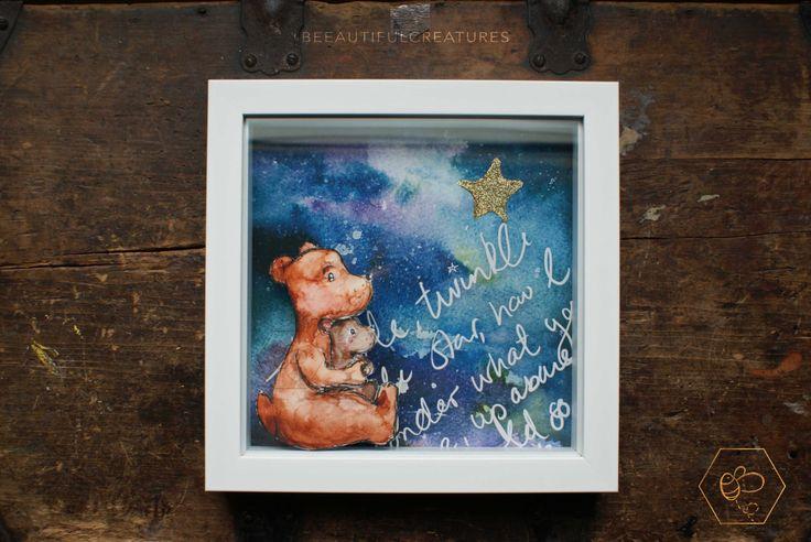 Twinkle twinkle Little star, Paper Cut, Box Frame art, Nursery Rhyme Art, Bear Hug Art, Nursery Art, Mum and Cub, Blue Decor, Sky Artwork, by BEEautifulcreatures on Etsy