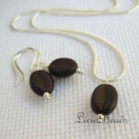 Delicate little coffee bean earrings and pendant...
