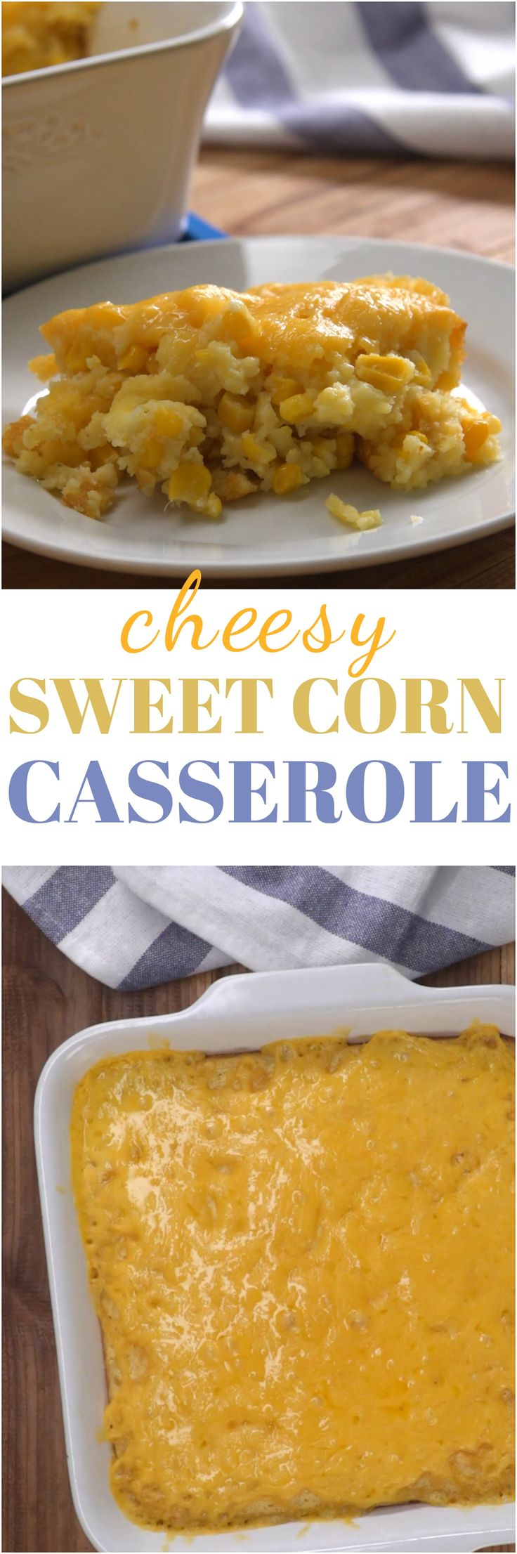 Cheesy sweet corn casserole is a beloved and convenient make-ahead side dish that'll have everyone cutting the buffet line at your next family gathering.