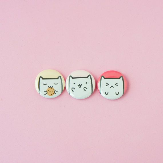 Cookie Cat Excited Cat Angry Cat  Set of 3 one by thepinksamurai