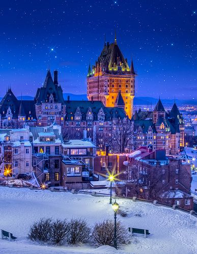 Hotel Frontenac under starry sky Quebec