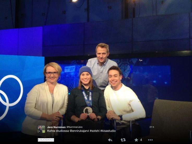 Hopeamitalisti Enni Rukajärvi oli odotettu vieras kisastudioon #sotshi #ylemme