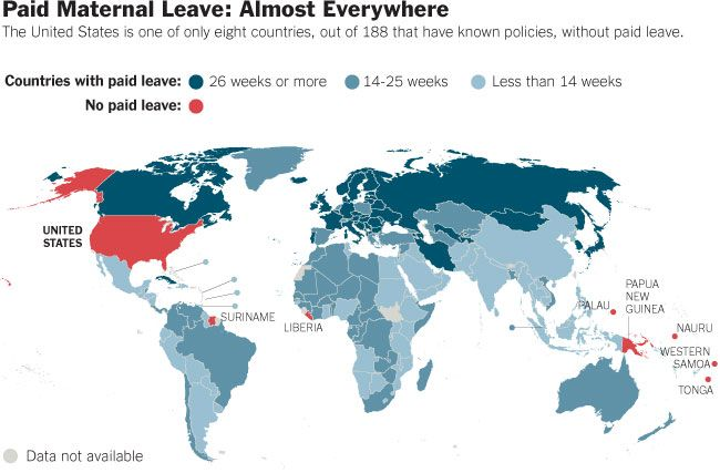 World map of paid maternal leave The sad and maddening truth is that the US, somehow ever the minority, is one of eight countries without mandatory paid maternity leave. Those other 7 countries listed are: Suriname, Liberia, Palau, Papau New Guinea, Nauru, Western Samoa, and Tonga.
