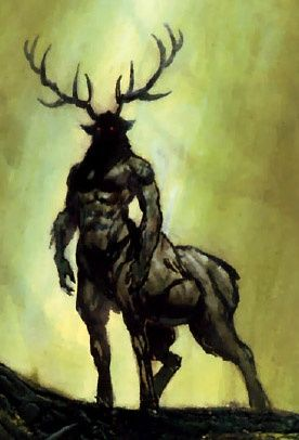 Corrupted Cervitaur (Native American) - Centaur-like creatures with the lower bodies of a stag, while normally very gentle creatures the corrupted version is a vile creature, a evil druid is probably responsible for their corruption. These creatures often serve as bodyguards for Erlkonigs.