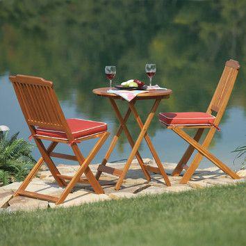 Outdoor Interiors 3 Piece Bistro Set, $179.36 - includes cushion