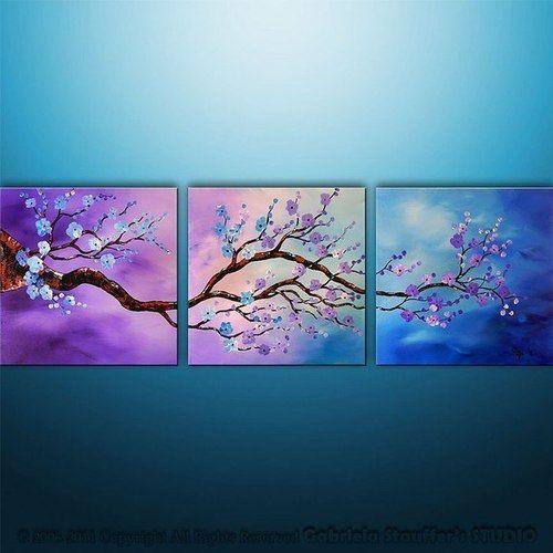 3 Piece Purple Cherry Blossom Muti Panel Abstract Modern: Pinturas, Pinturas En