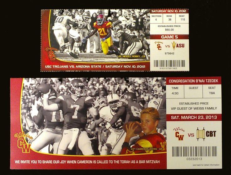 USC Ticket Bar Mitzvah Invitations http://li-kdesigns.com/?page_id=34