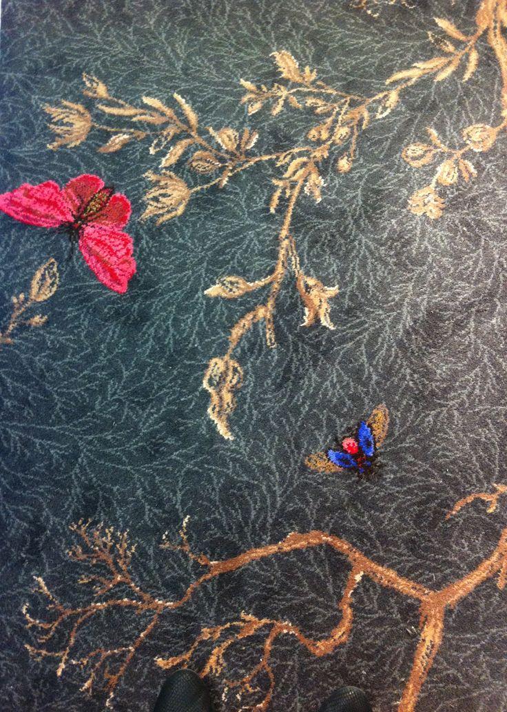 Noir Ruskin Butterfly carpet by Timorous Beasties
