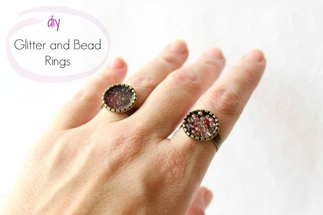 DIY Super Easy Glitter and Bead Rings!!!!