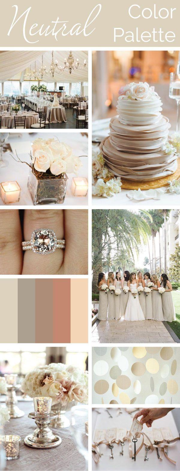 Neutral Color Palette: Simple, Elegant, Versatile. #wedding-pinned by wedding decorations specialists http://dazzlemeelegant.com