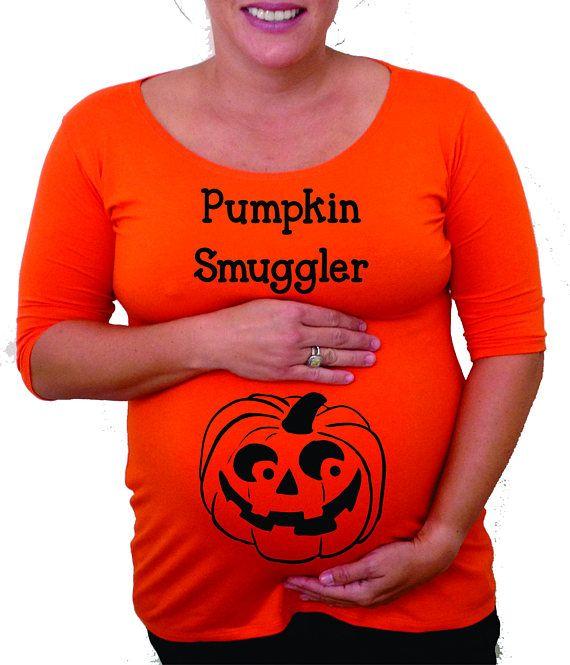 "Maternity Halloween shirt "" pumpkin Smuggler"" with jack o ..."