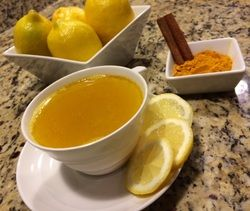 Turmeric and lemon during morning routine –  Turmeric is an aryuvedic plant which aids in anti-inflammation, high in anti-oxidants and cancer preventing properties.   Recipe: 1 cup warm (not hot) water, juice of ½ lemon, ¼  tsp turmeric, dash of cinnamon, 1/8 tsp of honey (optional). Add a pinch of cayenne pepper for some heat.