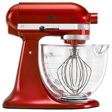 Architect Series Stand Mixer With Glass Bowl, Candy Apple Red contemporary blenders and food processors