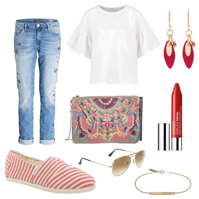 Damen Outfit 2017-06-05 - #ootd #outfit #fashion #oneoutfitperday #fashionblogger #fashionbloggerde #frauenoutfit #herbstoutfit - Frauen Outfit Outfit des Tages Sommer Outfit Armband Boyfriend Jeans Clinique Clutch Gold Jeans Leaf Mavi Minimum Ohrringe Orelia Paez Pepe Pepe Jeans Ray Ban Sabrina Sabrina Dehoff Slipper Sonnenbrille