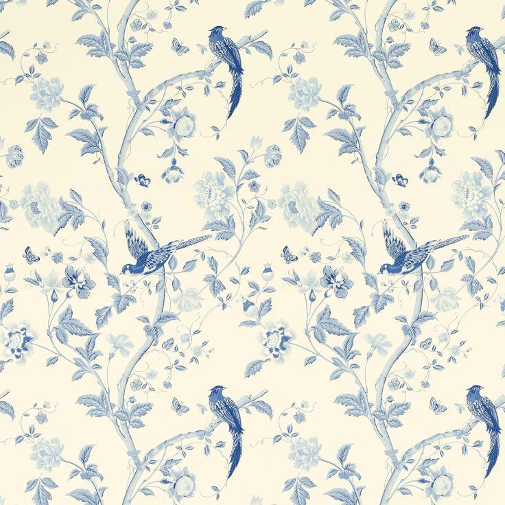 Laura Ashley Summer Palace Royal Blue Floral Wallpaper