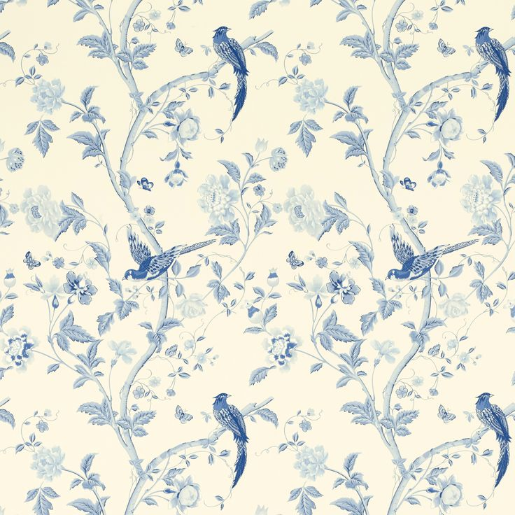 Laura Ashley Summer Palace Royal Blue Floral Wallpaper