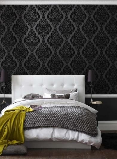 Kinky Vintage | Black Damask Flock Wallpaper | bedroom http://www.cachemirdecoracion.com interior decoration