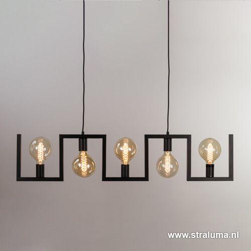 Metalen eettafel hanglamp zwart frame - www.straluma.nl