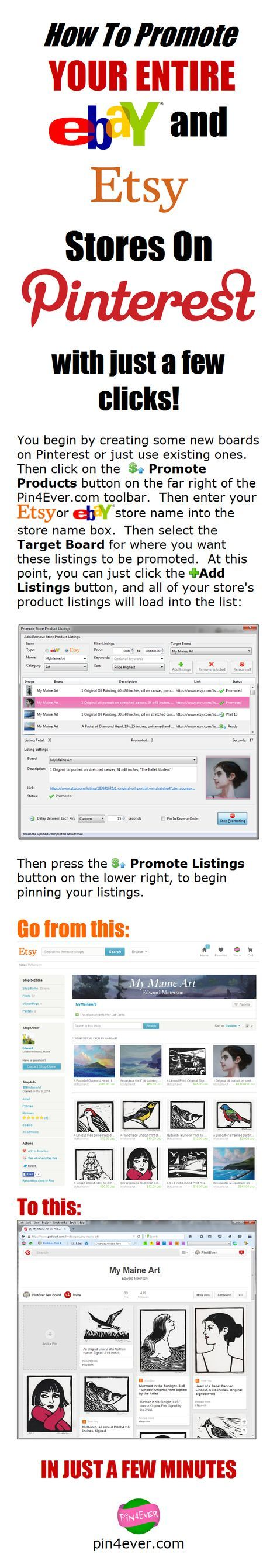 Promote entire eBay and Etsy Stores On Pinterest with just a few clicks!