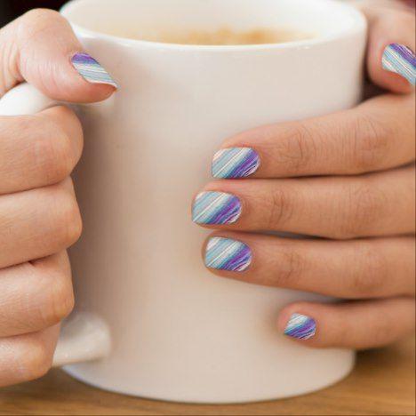 Blue Chic Waves Pattern Nail Art | Zazzle.com