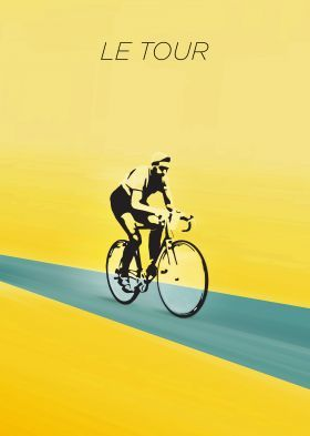 steel poster Street art tour de france cycling bicycle vintage bike sports yellow maillot jaune