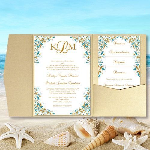 Diy pocket wedding invitations quotkaitlynquot teal gold for Printed pocketfold wedding invitations