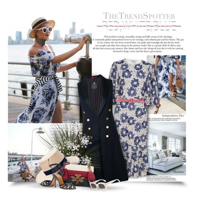 """""""Independence Day"""" by thewondersoffashion ❤ liked on Polyvore featuring CO, Loveless, Ports 1961, Gigi Burris Millinery, Gucci, Aquazzura and CÉLINE"""