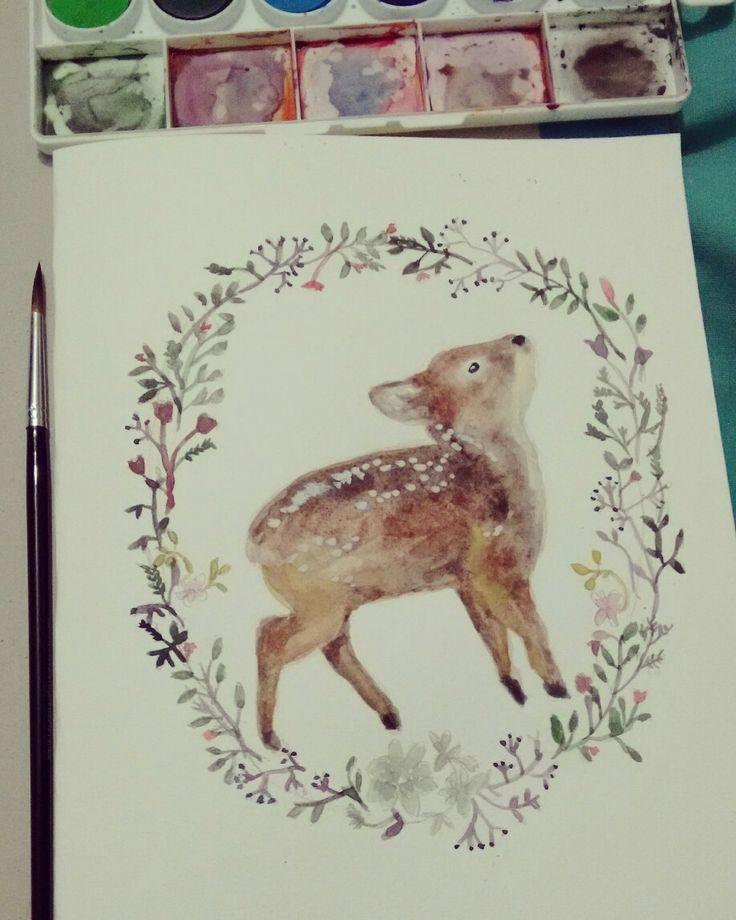 Pudu acuarela #watercolor #pudu #paint