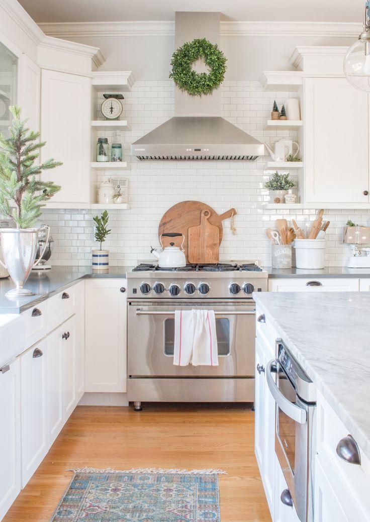 Simple White Christmas Kitchen