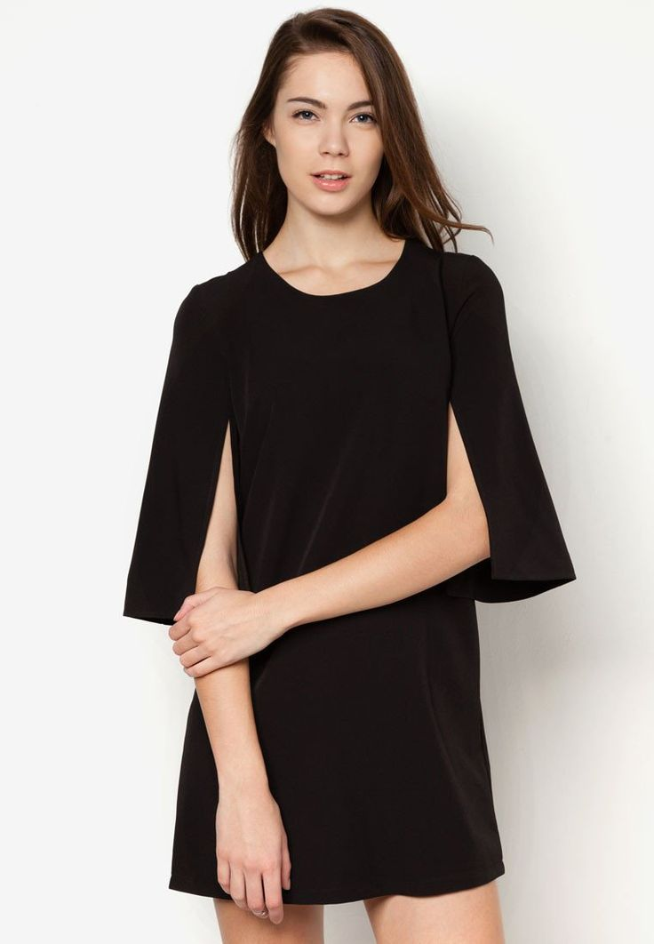 Caped Shift Dress by Zalora. Mini dress with minimalis design with unique sleeves style, made from polyester fabric with black color, round neck, 3/4 sleeve, back zipper, slit details on the sleeve, looks awesome. Perfect for formal occasion.  http://www.zocko.com/z/JFev8