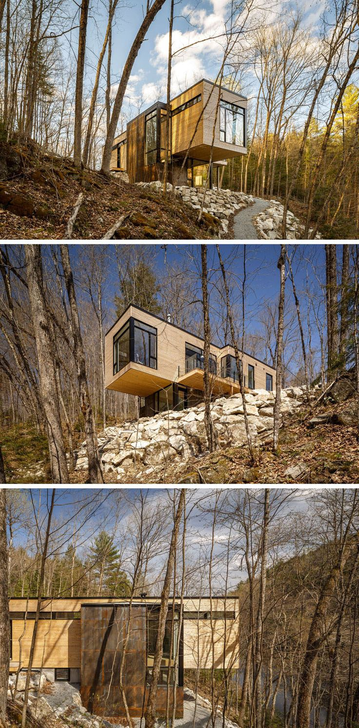 18 Modern House In The Forest // The trees of the forest around this house help filter the natural light that streams into the home.